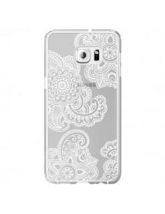 Coque Lacey Paisley Mandala Blanc Fleur Transparente pour Samsung Galaxy S6 Edge Plus - Sylvia Cook