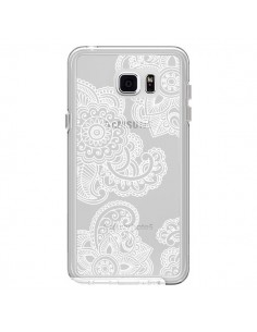 Coque Lacey Paisley Mandala Blanc Fleur Transparente pour Samsung Galaxy Note 5 - Sylvia Cook