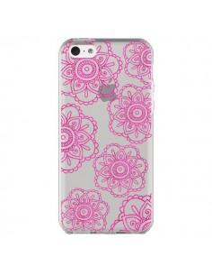 Coque iPhone 5C Pink Doodle Flower Mandala Rose Fleur Transparente - Sylvia Cook