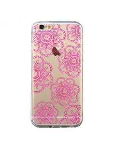 Coque iPhone 6 et 6S Pink Doodle Flower Mandala Rose Fleur Transparente - Sylvia Cook