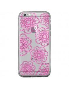 Coque iPhone 6 Plus et 6S Plus Pink Doodle Flower Mandala Rose Fleur Transparente - Sylvia Cook