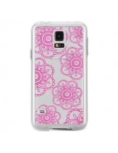 Coque Pink Doodle Flower Mandala Rose Fleur Transparente pour Samsung Galaxy S5 - Sylvia Cook