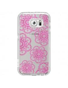 Coque Pink Doodle Flower Mandala Rose Fleur Transparente pour Samsung Galaxy S6 - Sylvia Cook