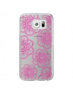 Coque Pink Doodle Flower Mandala Rose Fleur Transparente pour Samsung Galaxy S6 Edge - Sylvia Cook