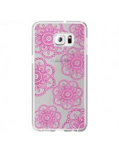 Coque Pink Doodle Flower Mandala Rose Fleur Transparente pour Samsung Galaxy S6 Edge Plus - Sylvia Cook