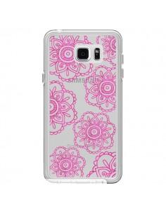 Coque Pink Doodle Flower Mandala Rose Fleur Transparente pour Samsung Galaxy Note 5 - Sylvia Cook