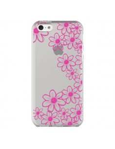 Coque iPhone 5C Pink Flowers Fleurs Roses Transparente - Sylvia Cook