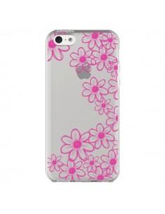 Coque Pink Flowers Fleurs Roses Transparente pour iPhone 5C - Sylvia Cook