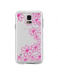 Coque Pink Flowers Fleurs Roses Transparente pour Samsung Galaxy S5 - Sylvia Cook