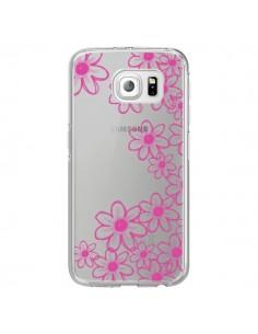 Coque Pink Flowers Fleurs Roses Transparente pour Samsung Galaxy S6 Edge - Sylvia Cook
