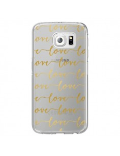 Coque Love Amour Repeating Transparente pour Samsung Galaxy S6 Edge - Sylvia Cook