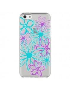 Coque iPhone 5C Turquoise and Purple Flowers Fleurs Violettes Transparente - Sylvia Cook