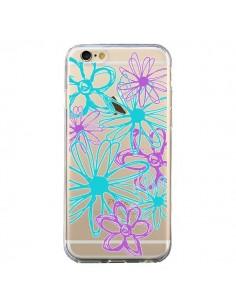 Coque iPhone 6 et 6S Turquoise and Purple Flowers Fleurs Violettes Transparente - Sylvia Cook