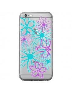 Coque iPhone 6 Plus et 6S Plus Turquoise and Purple Flowers Fleurs Violettes Transparente - Sylvia Cook