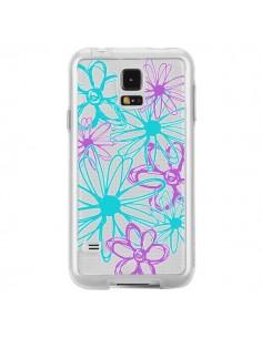 Coque Turquoise and Purple Flowers Fleurs Violettes Transparente pour Samsung Galaxy S5 - Sylvia Cook