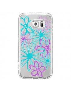 Coque Turquoise and Purple Flowers Fleurs Violettes Transparente pour Samsung Galaxy S6 - Sylvia Cook