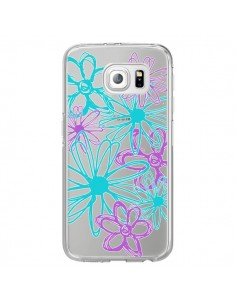 Coque Turquoise and Purple Flowers Fleurs Violettes Transparente pour Samsung Galaxy S6 Edge - Sylvia Cook