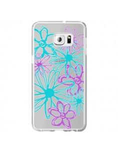 Coque Turquoise and Purple Flowers Fleurs Violettes Transparente pour Samsung Galaxy S6 Edge Plus - Sylvia Cook