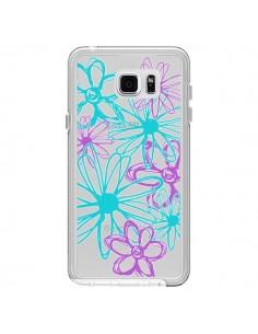 Coque Turquoise and Purple Flowers Fleurs Violettes Transparente pour Samsung Galaxy Note 5 - Sylvia Cook