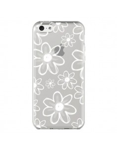 Coque iPhone 5C Mandala Blanc White Flower Transparente - Sylvia Cook