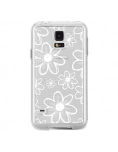 Coque Mandala Blanc White Flower Transparente pour Samsung Galaxy S5 - Sylvia Cook