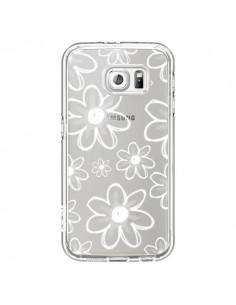 Coque Mandala Blanc White Flower Transparente pour Samsung Galaxy S6 - Sylvia Cook