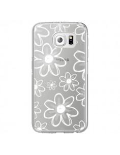 Coque Mandala Blanc White Flower Transparente pour Samsung Galaxy S6 Edge - Sylvia Cook