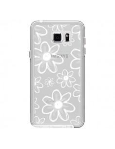 Coque Mandala Blanc White Flower Transparente pour Samsung Galaxy Note 5 - Sylvia Cook