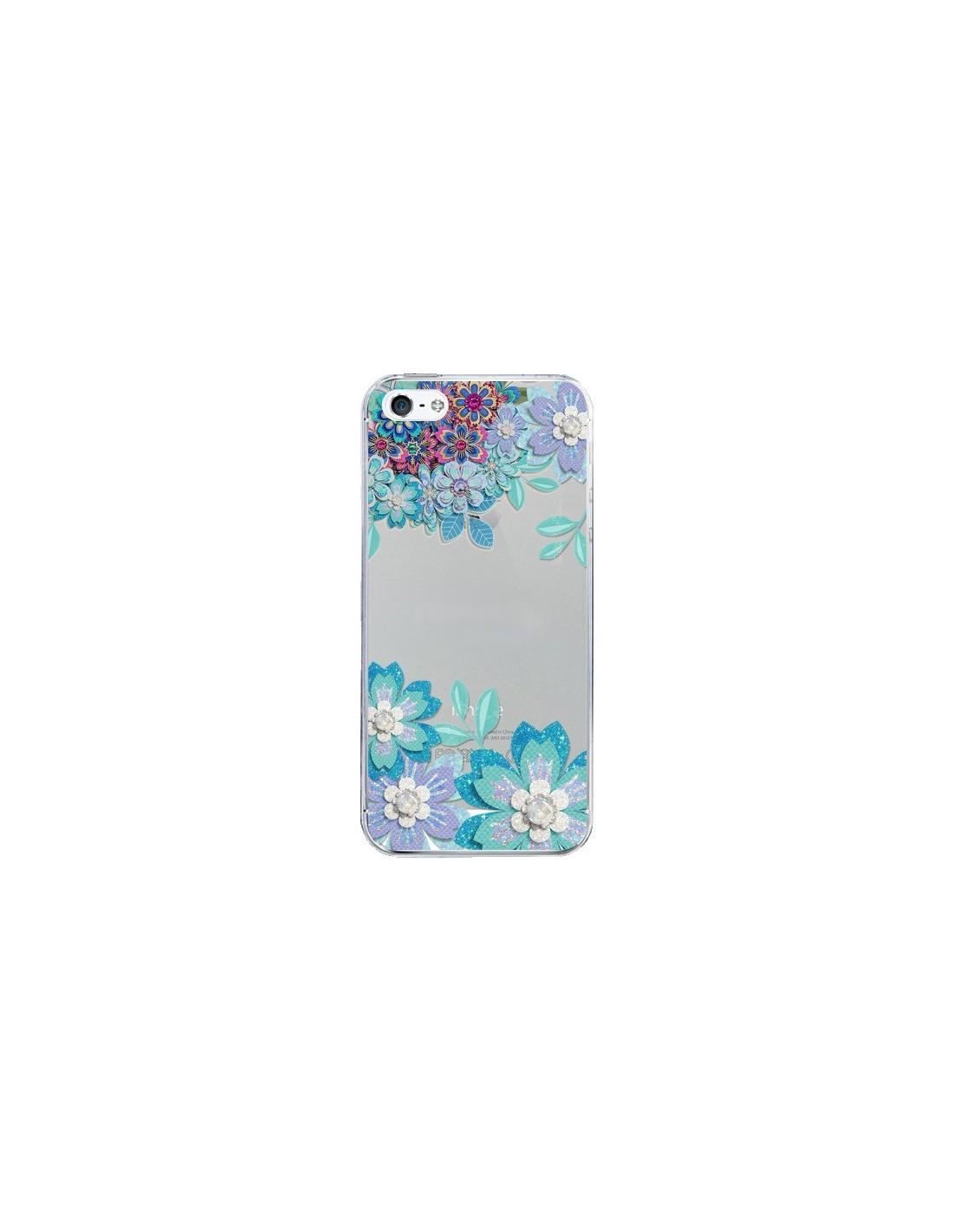 coque iphone 5 5s se winter flower bleu fleurs d hiver transparente sylvia cook