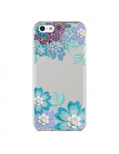 Coque Winter Flower Bleu, Fleurs d'Hiver Transparente pour iPhone 5C - Sylvia Cook