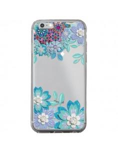 Coque iPhone 6 Plus et 6S Plus Winter Flower Bleu, Fleurs d'Hiver Transparente - Sylvia Cook