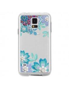 Coque Winter Flower Bleu, Fleurs d'Hiver Transparente pour Samsung Galaxy S5 - Sylvia Cook