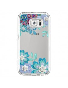 Coque Winter Flower Bleu, Fleurs d'Hiver Transparente pour Samsung Galaxy S6 - Sylvia Cook
