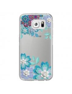 Coque Winter Flower Bleu, Fleurs d'Hiver Transparente pour Samsung Galaxy S6 Edge - Sylvia Cook