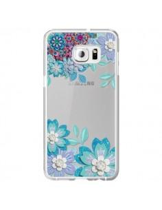 Coque Winter Flower Bleu, Fleurs d'Hiver Transparente pour Samsung Galaxy S6 Edge Plus - Sylvia Cook