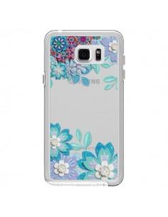 Coque Winter Flower Bleu, Fleurs d'Hiver Transparente pour Samsung Galaxy Note 5 - Sylvia Cook