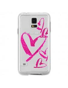 Coque Pink Heart Coeur Rose Transparente pour Samsung Galaxy S5 - Sylvia Cook