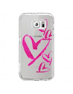 Coque Pink Heart Coeur Rose Transparente pour Samsung Galaxy S6 - Sylvia Cook