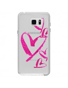 Coque Pink Heart Coeur Rose Transparente pour Samsung Galaxy Note 5 - Sylvia Cook