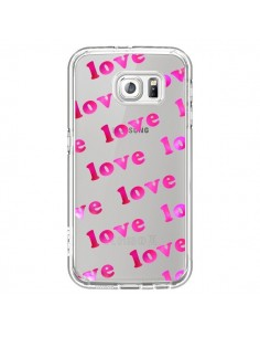 Coque Pink Love Rose Transparente pour Samsung Galaxy S6 - Sylvia Cook