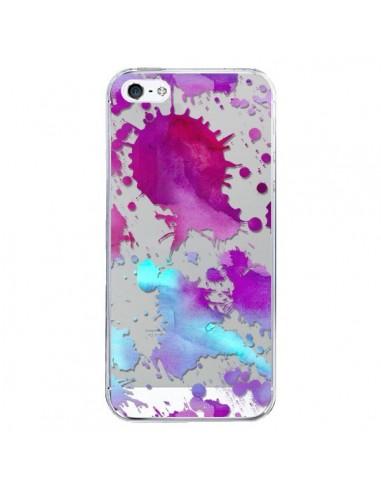 Coque iPhone 5/5S et SE Watercolor Splash Taches Bleu Violet Transparente - Sylvia Cook