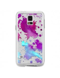 Coque Watercolor Splash Taches Bleu Violet Transparente pour Samsung Galaxy S5 - Sylvia Cook