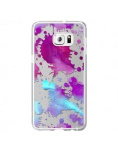 Coque Watercolor Splash Taches Bleu Violet Transparente pour Samsung Galaxy S6 Edge Plus - Sylvia Cook