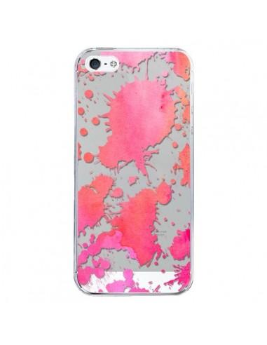 Coque iPhone 5/5S et SE Watercolor Splash Taches Rose Orange Transparente - Sylvia Cook