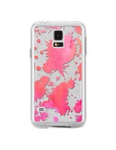 Coque Watercolor Splash Taches Rose Orange Transparente pour Samsung Galaxy S5 - Sylvia Cook