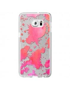 Coque Watercolor Splash Taches Rose Orange Transparente pour Samsung Galaxy S6 Edge Plus - Sylvia Cook
