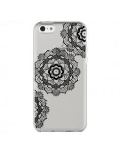 Coque iPhone 5C Triple Mandala Noir Black Transparente - Sylvia Cook
