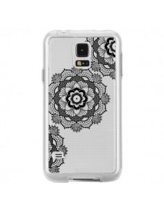 Coque Triple Mandala Noir Black Transparente pour Samsung Galaxy S5 - Sylvia Cook