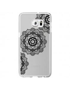 Coque Triple Mandala Noir Black Transparente pour Samsung Galaxy S6 Edge Plus - Sylvia Cook