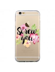Coque Screw you Flower Fleur Transparente pour iPhone 6 et 6S - Maryline Cazenave